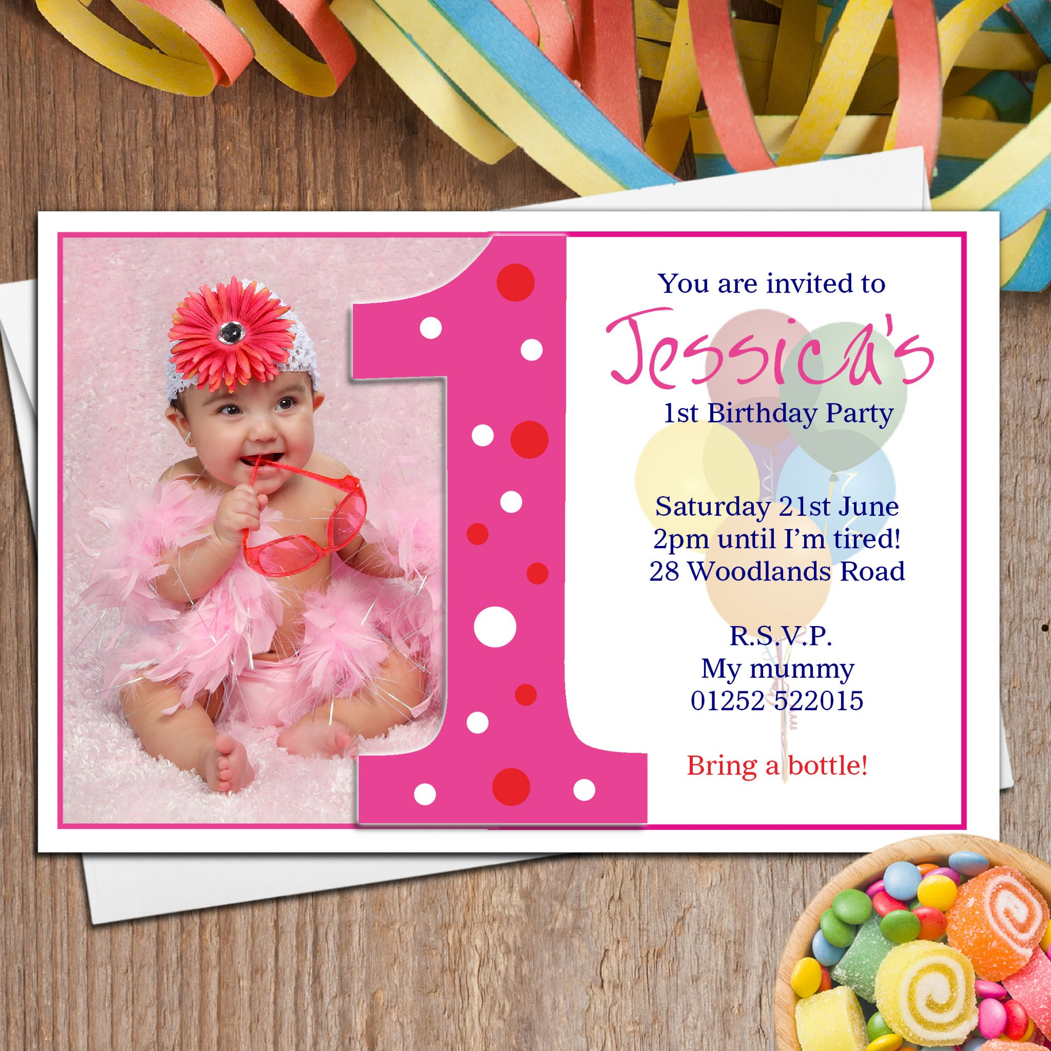 10 Personalised Girls First 1st Birthday Party PHOTO