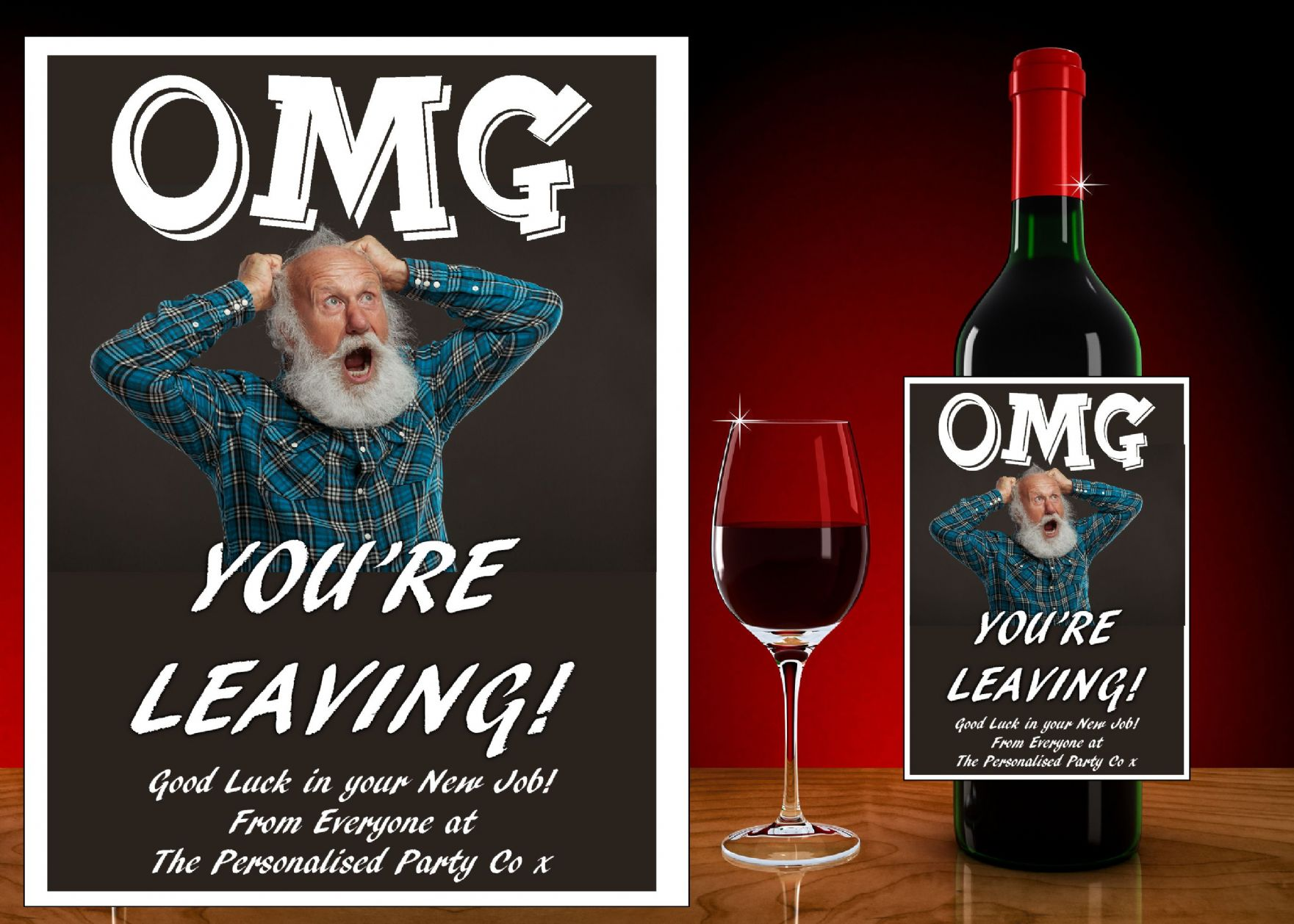 Personalised OMG You Re Leaving Wine Champagne Bottle